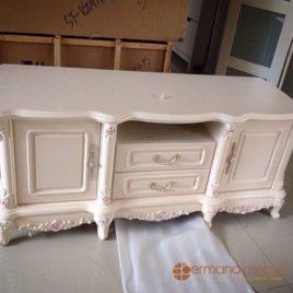 Mebel Jepara, Furniture Jepara, Bufet Klasik Duco Putih, Permana Mebel Jepara